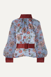 Belted floral-print silk-satin and silk-chiffon blouse