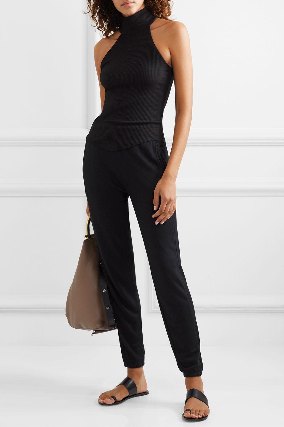 calé Lily ribbed-knit paneled stretch modal-blend track pants