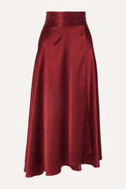 Silk-satin wrap midi skirt