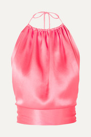 Open-back silk-satin halterneck top