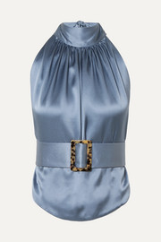 Open-back belted silk-satin halterneck top