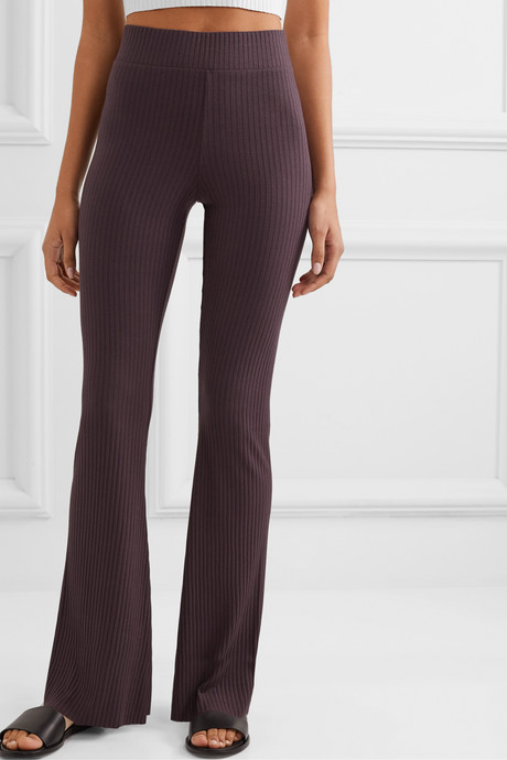Angelique ribbed stretch-jersey flared pants
