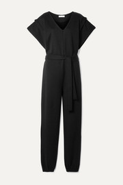 Ninety Percent + NET SUSTAIN belted organic cotton-jersey jumpsuit