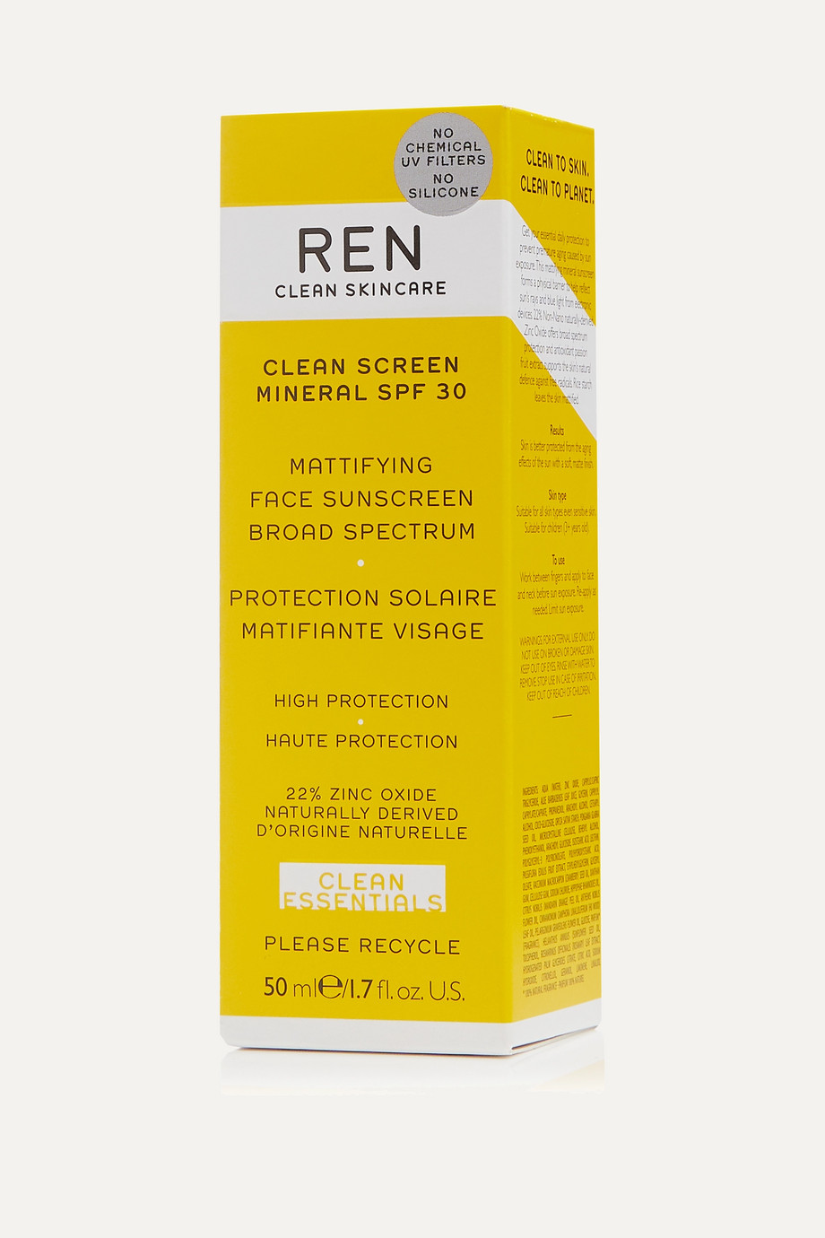 REN Clean Skincare Clean Screen Mineral Mattifying Face Sunscreen SPF30, 50ml