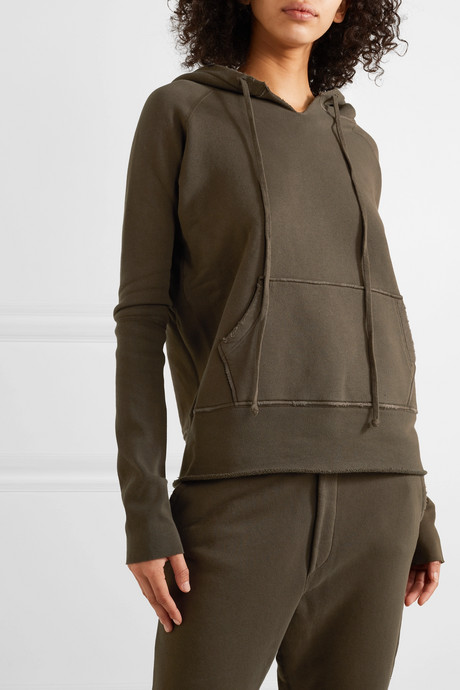 Janie distressed cotton-jersey hoodie