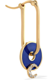 Crescent 18-karat gold, diamond and enamel earring