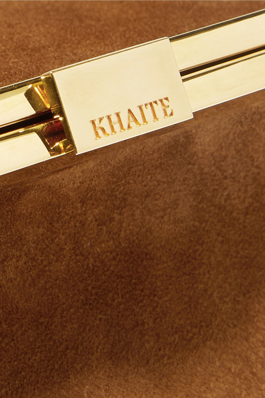 Khaite Envelope Pleat suede clutch