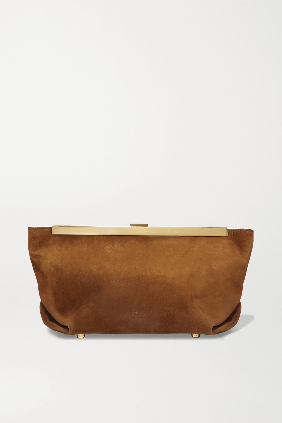 Khaite Envelope Pleat suede clutch