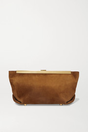 Envelope Pleat suede clutch