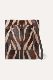 Khaite Leather-trimmed zebra-print calf hair shoulder bag