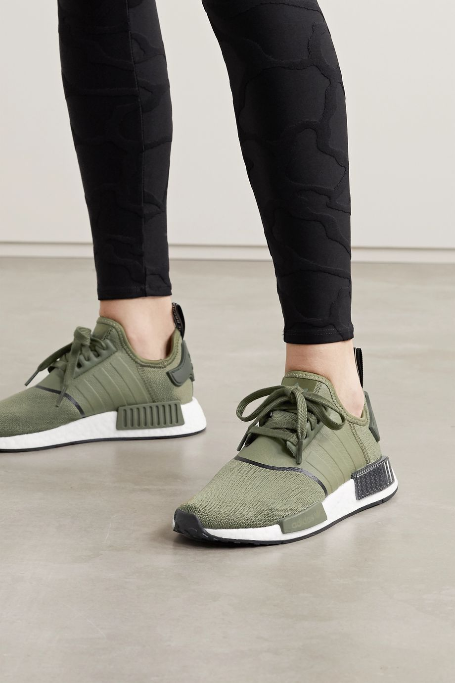 adidas Originals NMD R1 rubber-trimmed stretch-knit sneakers