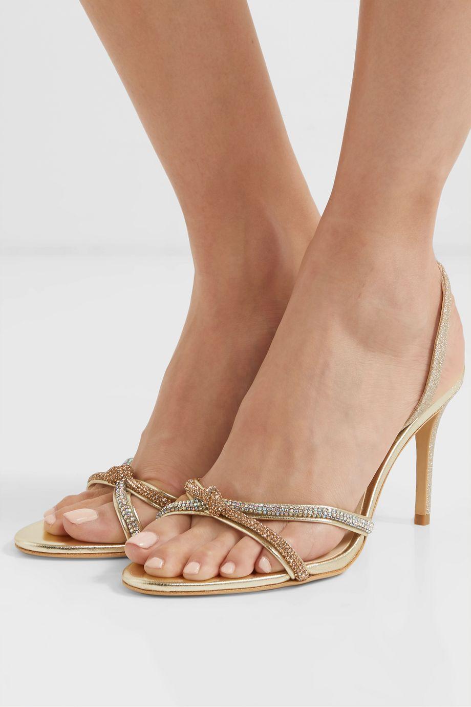 Sophia Webster Giovanna crystal-embellished glittered leather slingback sandals