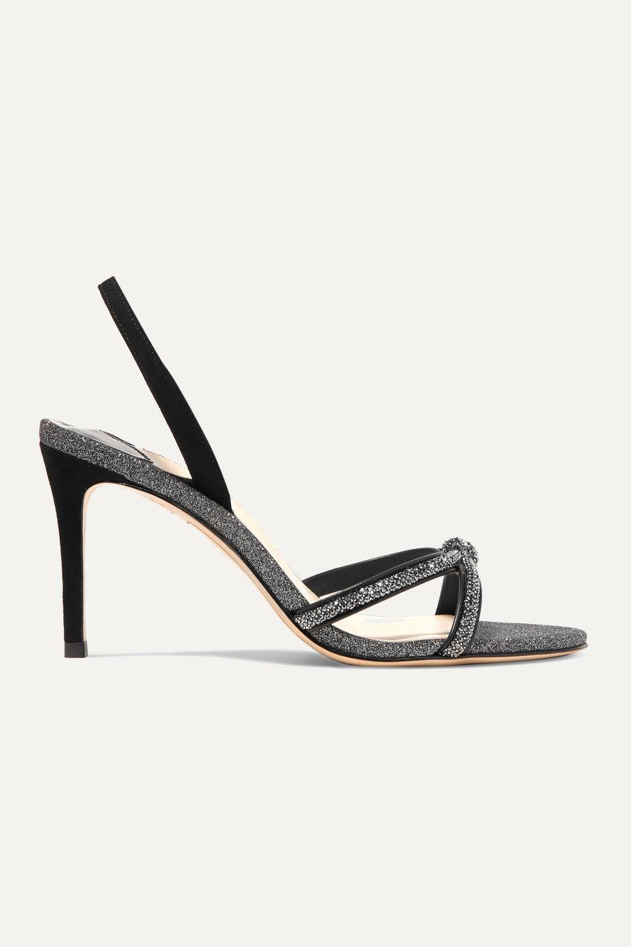 Sophia Webster Giovanna crystal-embellished glittered suede slingback sandals
