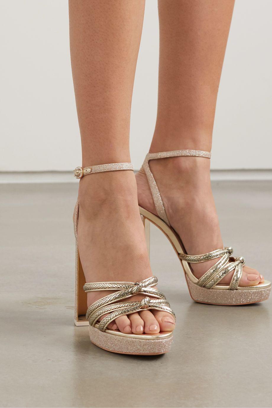 Sophia Webster Freya crystal-embellished metallic snake-effect and glittered leather platform sandals