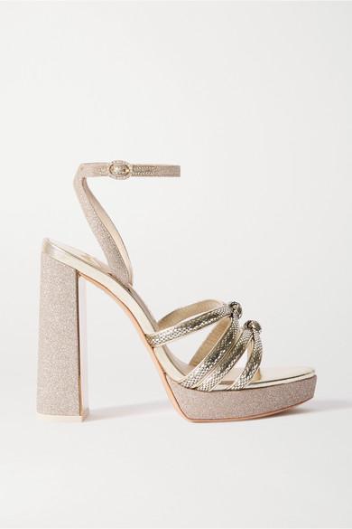 Sophia Webster Freya Crystal-embellished Metallic Snake-effect And Glittered Leather Platform Sandals In Gold