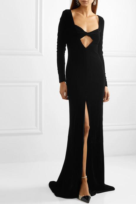 Cutout velvet gown