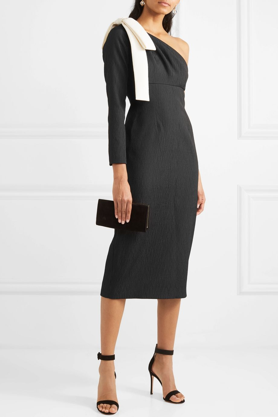 Emilia Wickstead Nadia one-sleeve bow-detailed cloqué dress