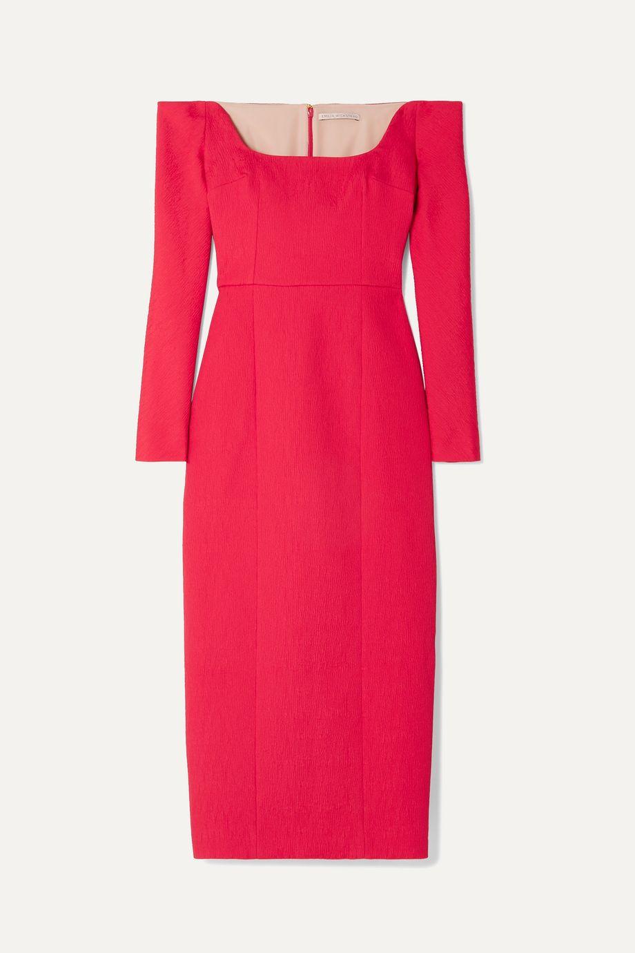 Emilia Wickstead Birch off-the-shoulder cloqué midi dress
