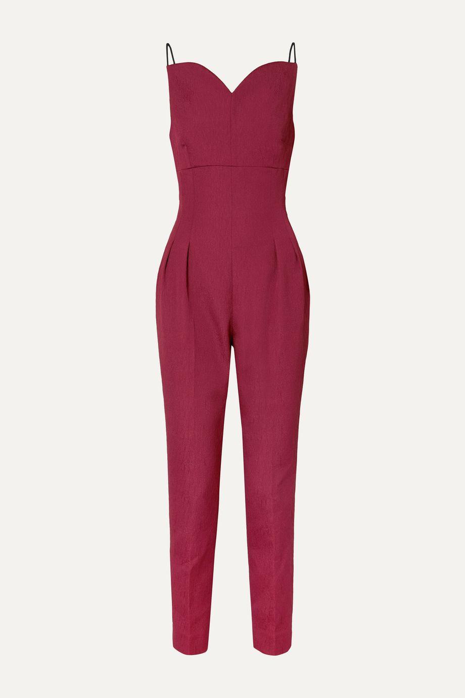 Emilia Wickstead Selma open-back cloqué jumpsuit