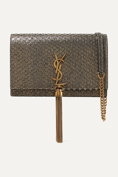 075fdb99e SAINT LAURENT | Kate small snake-effect metallic suede shoulder bag |  NET-A-PORTER.COM