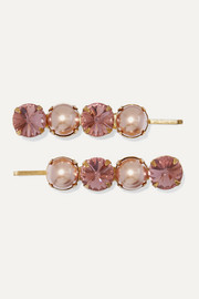 Jennifer Behr Galina set of two rose gold-tone, crystal and Swarovski pearl hair slides