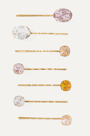 Jennifer Behr Nora set of seven gold-tone crystal hair slides