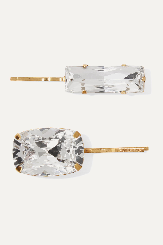 Jennifer Behr Set of two gold-tone crystal hair slides