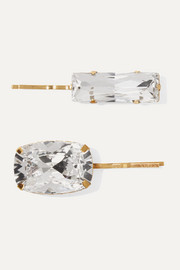 Set of two gold-tone crystal hair slides