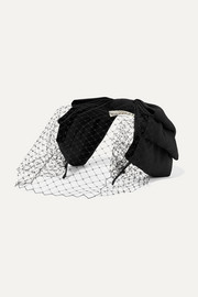 Jennifer Behr Jalaina mesh-trimmed silk-faille fascinator