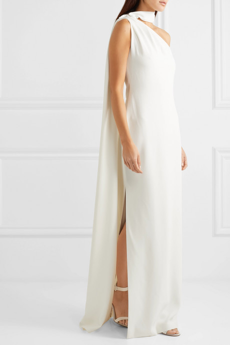 One-shoulder draped crepe gown