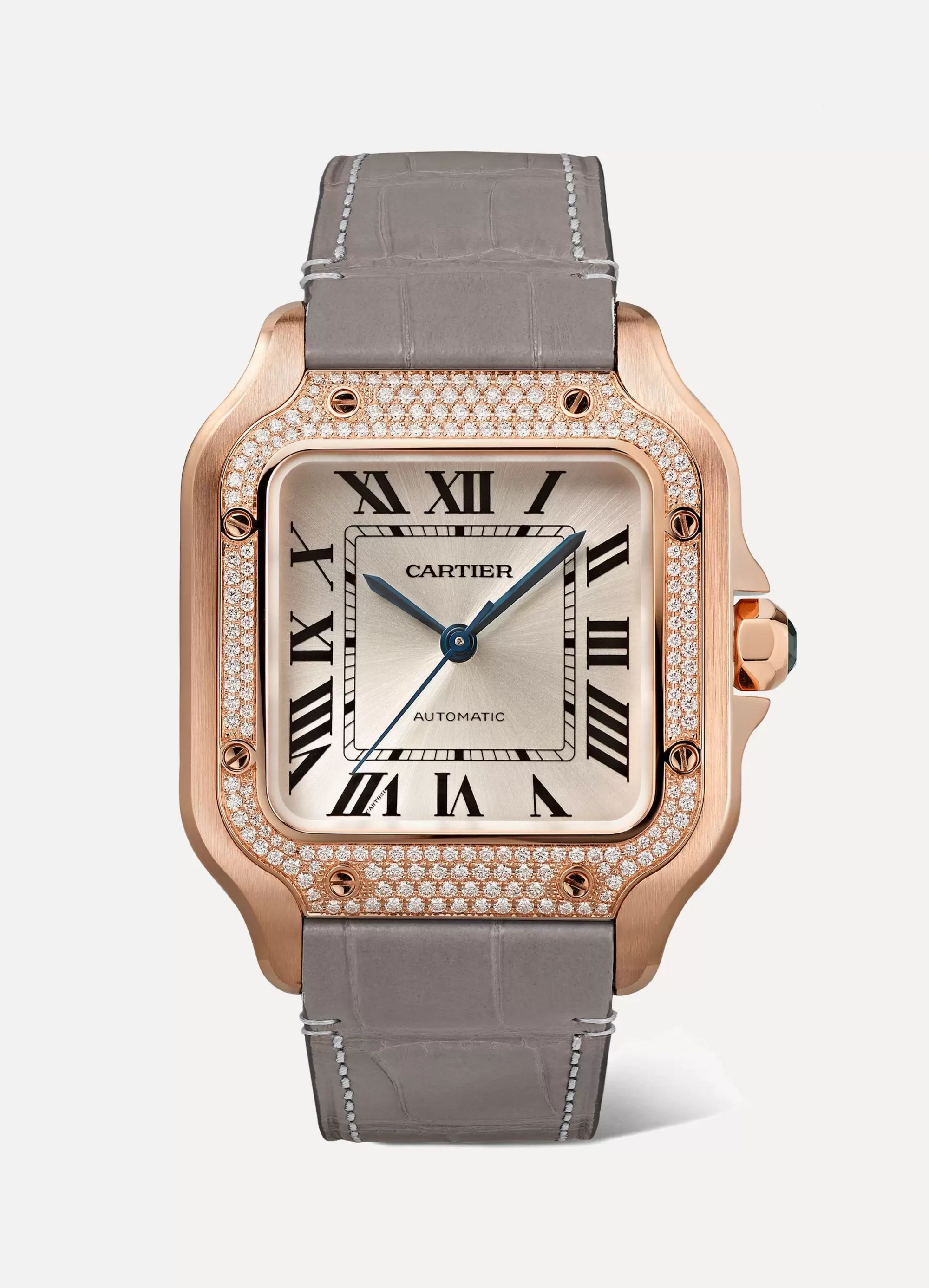 Cartier Santos de Cartier 35mm medium 18-karat pink gold, alligator and diamond watch