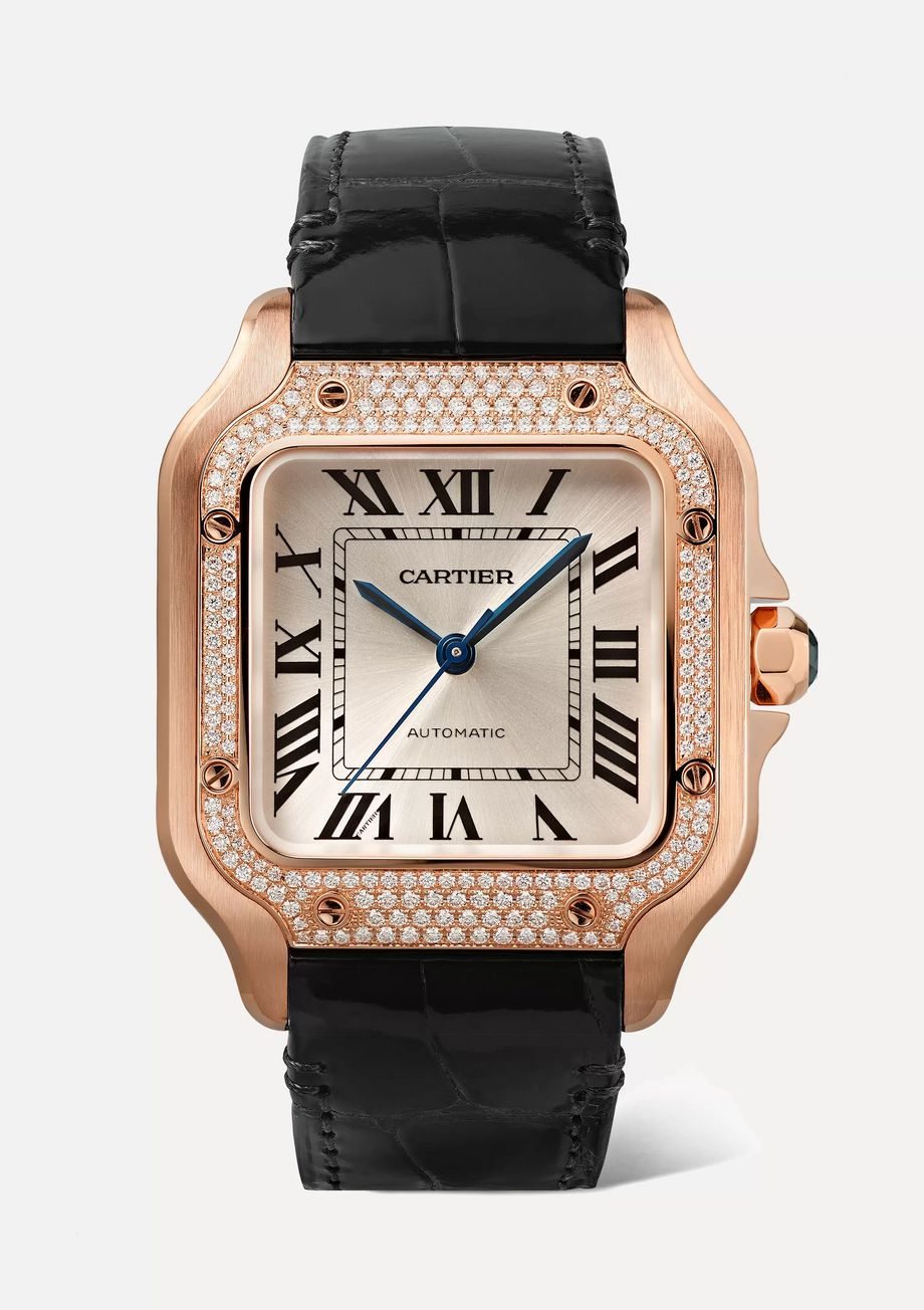 Cartier Santos de Cartier 35mm medium 18-karat pink gold, alligator and diamond watch