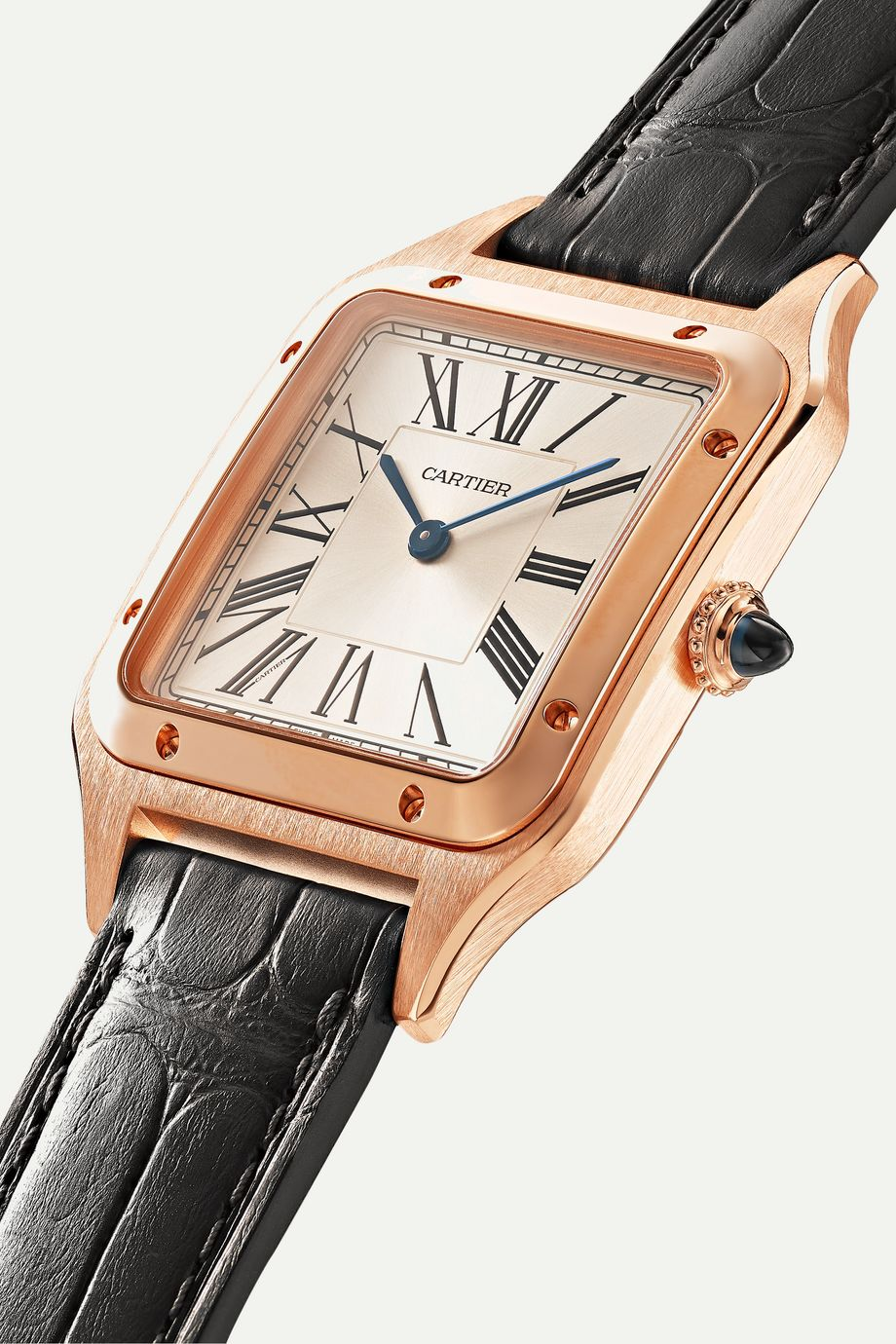 Cartier Santos-Dumont 31.4mm large 18-karat pink gold and alligator watch