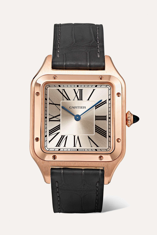 Cartier Santos-Dumont 31.4mm large 18-karat pink gold and alligator watch