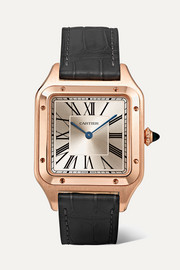 Santos-Dumont 31.4mm large 18-karat pink gold and alligator watch