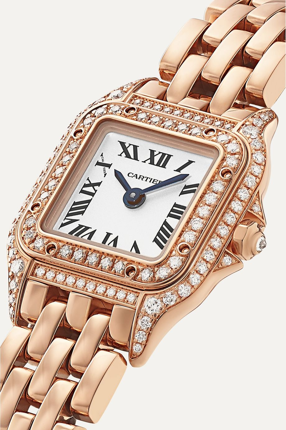 Cartier Montre en or rose 18 carats et diamants Panthère de Cartier Manchette Small 27 mm