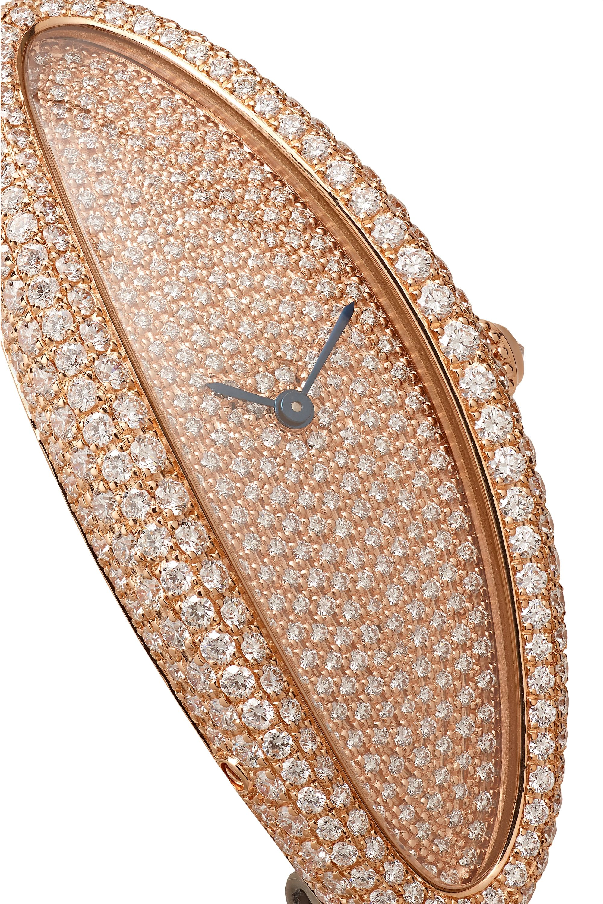 Cartier Baignoire Allongée 21mm medium 18-karat rose gold, alligator and diamond watch