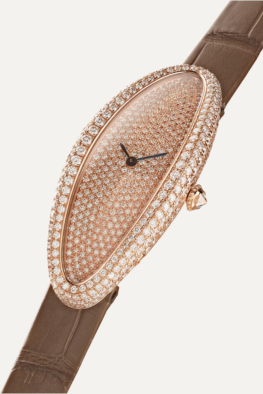 Cartier Montre en or rose 18 carats et diamants à bracelet en alligator Baignoire Allongée Medium 21 mm
