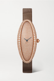Baignoire Allongée 21mm medium 18-karat rose gold, alligator and diamond watch