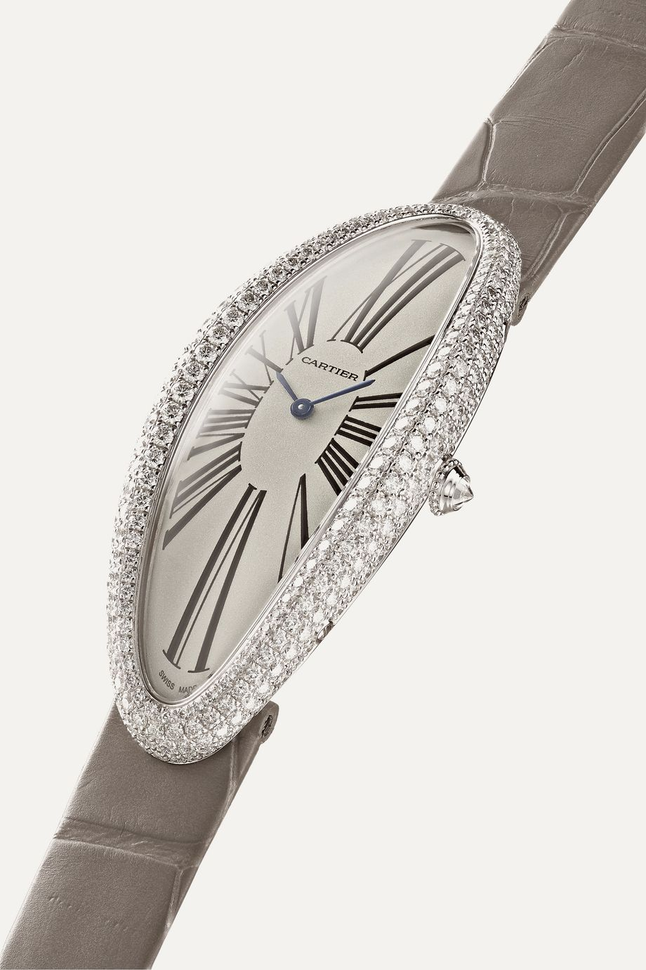 Cartier Baignoire Allongée 23mm extra large rhodium-finish 18-karat white gold, alligator and diamond watch
