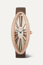 Cartier Baignoire Allongée 23mm extra large 18-karat pink gold, alligator and diamond watch