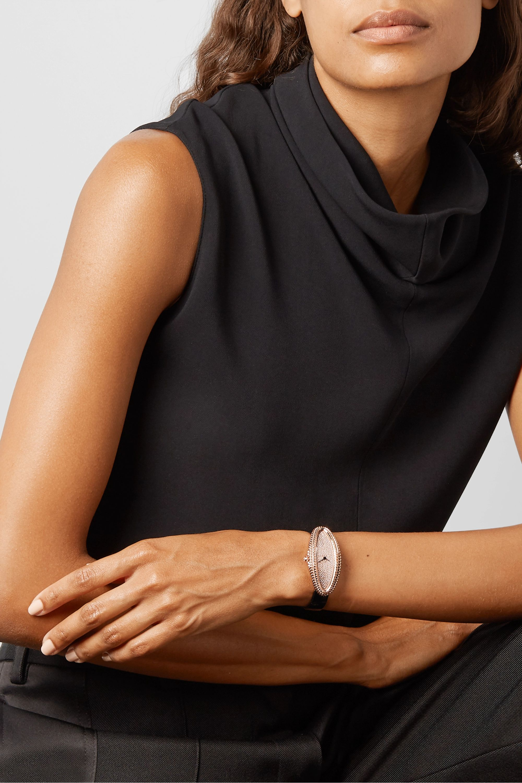 Cartier Baignoire Allongée 21mm medium 18-karat rose gold, alligator and diamond watch