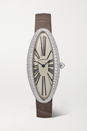 Baignoire Allongée 21mm medium 18-karat white gold, alligator and diamond watch
