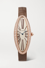 Baignoire Allongée 21mm medium 18-karat pink gold, alligator and diamond watch