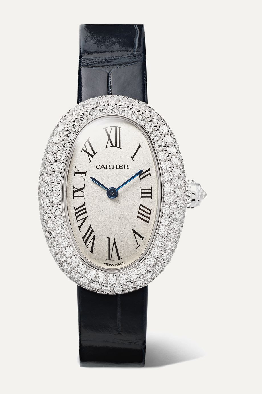 Cartier Baignoire 1920 26mm small rhodium-finish 18-karat white gold, alligator and diamond watch