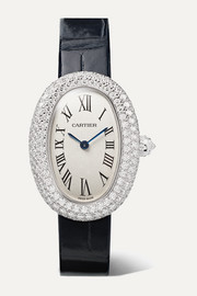 Baignoire 1920 26mm small rhodium-finish 18-karat white gold, alligator and diamond watch