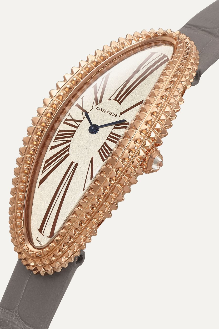 Cartier Montre en or rose 18 carats et diamant à bracelet en alligator Baignoire Allongée Medium 47 mm