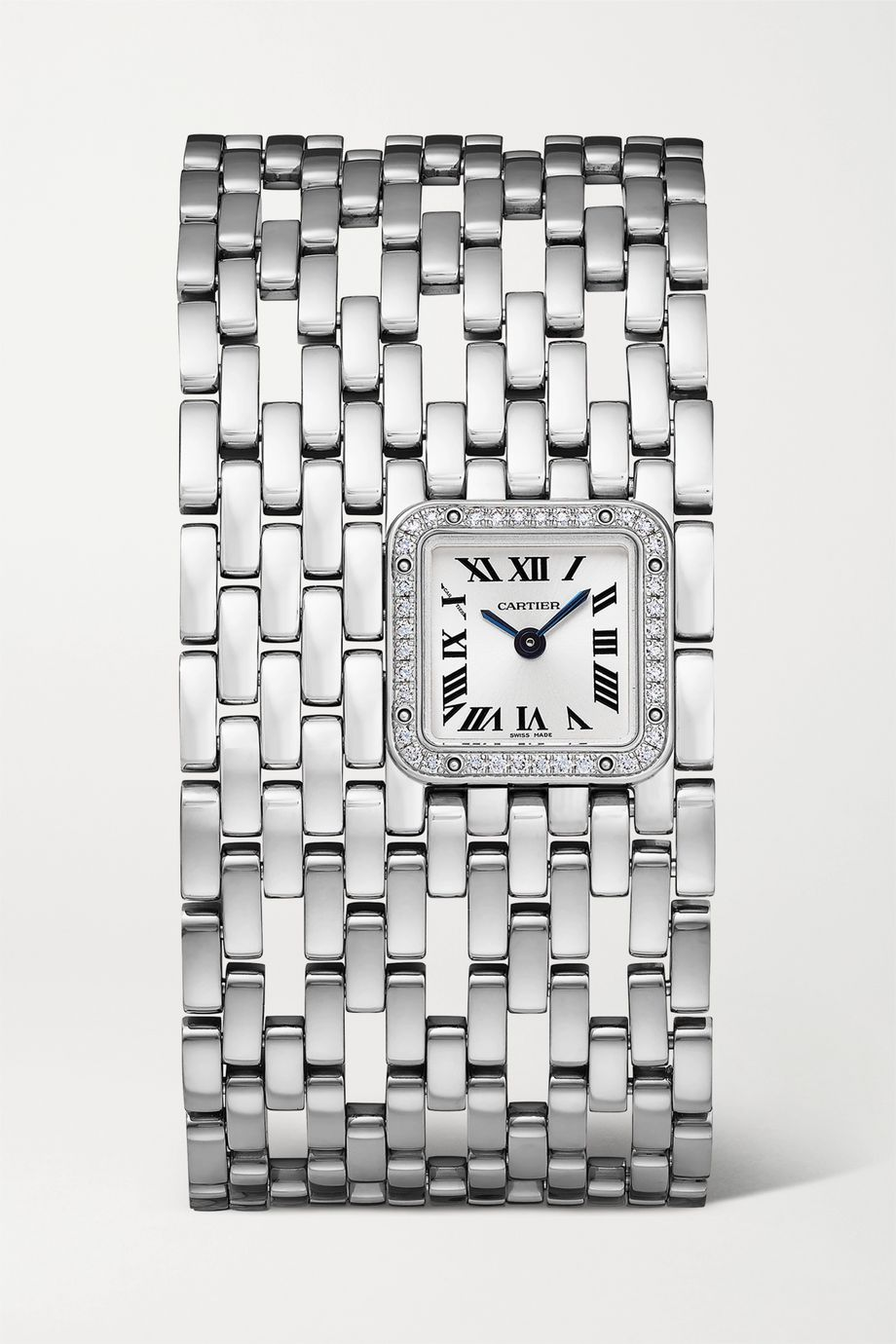 Cartier Montre en or blanc 18 carats rhodié et diamants Panthère de Cartier Manchette 22 mm