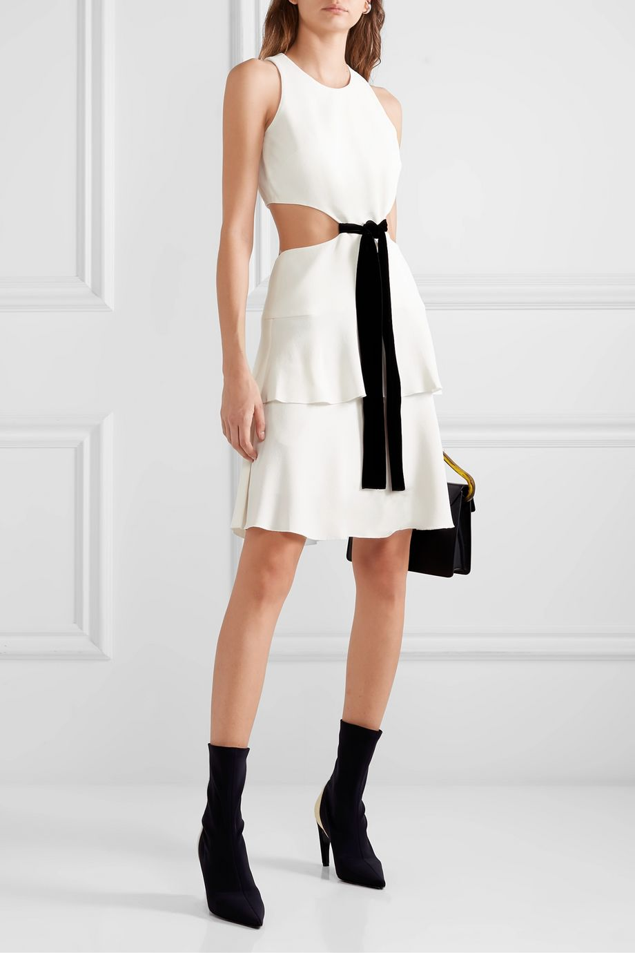 Proenza Schouler Tiered cutout crepe mini dress
