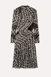 Proenza Schouler Studded lace-paneled printed silk-blend chiffon midi dress